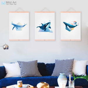 Abstract Large Ocean Animal Whale Wooden Framed Canvas Paintings Nordic Modern Home Decor Wall Art Print Pictures Poster Scroll