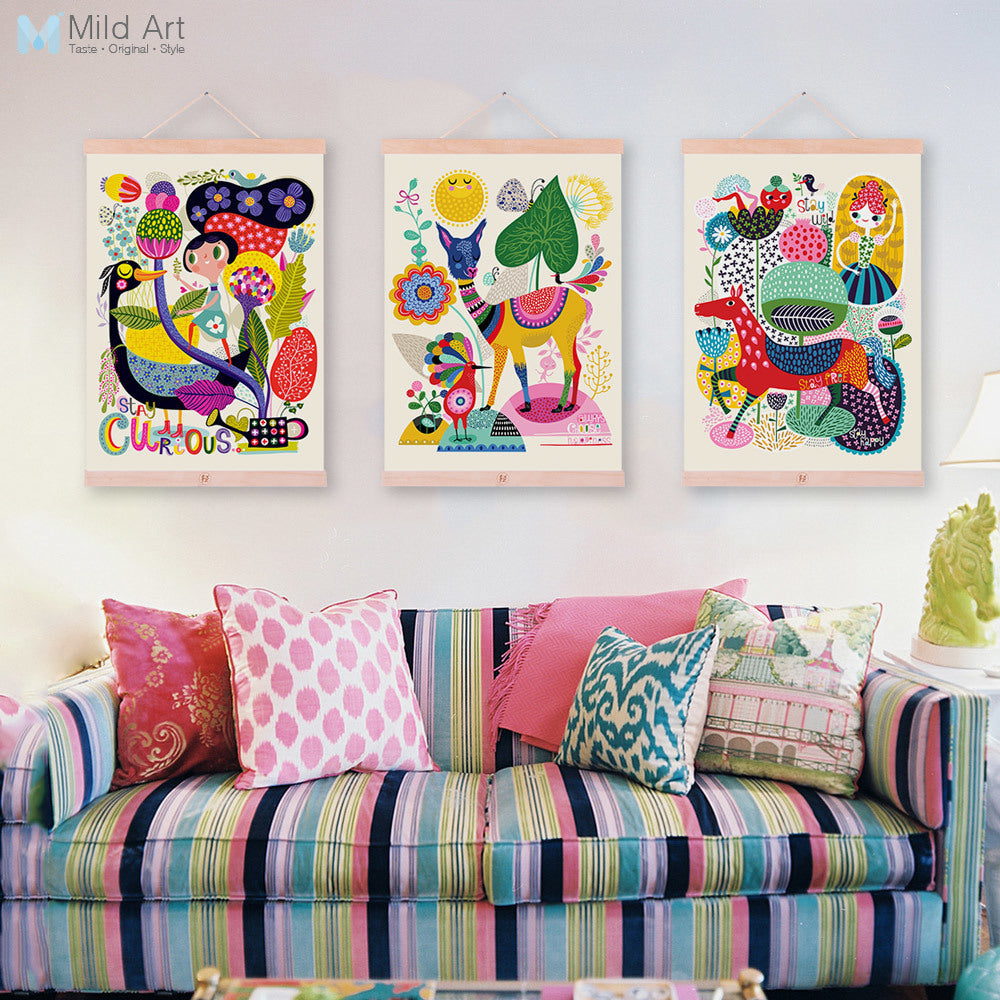 Moder Cute Animals Deer Horse Wooden Framed Canvas Paintings Kids Living Room Home Decor Wall Art Print Pictures Poster Scroll