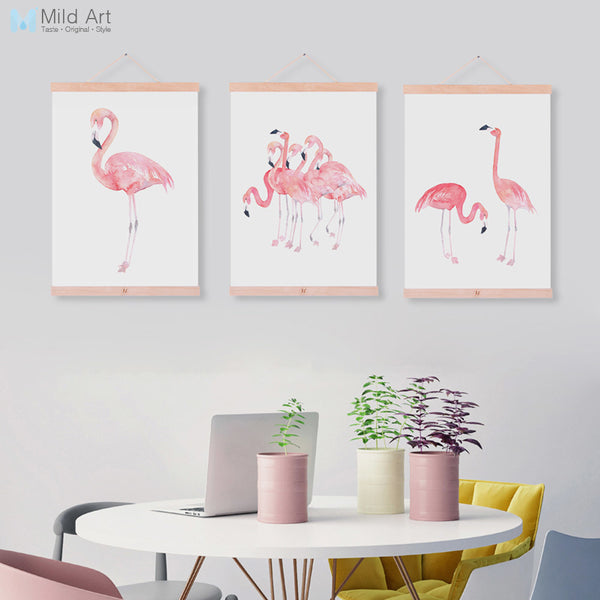 Nordic Watercolor Flamingo Animal Poster A4 Wooden Framed Canvas Painting Modern Living Room Decor Wall Art Print Picture Scroll
