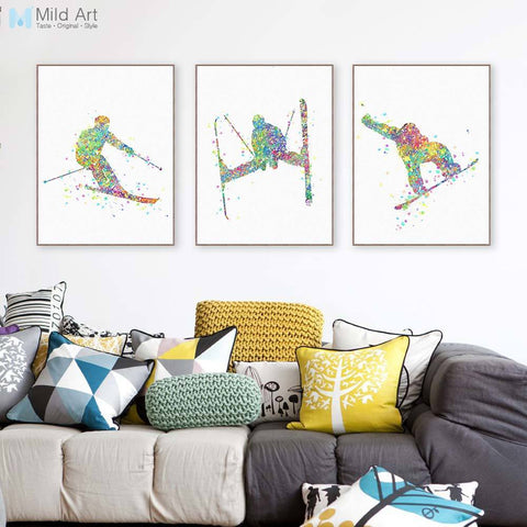 Triptych Modern Abstract Watercolor Skiing Art Print Poster Sports Man Wall Picture Canvas Painting Boys Room Home Deco No Frame