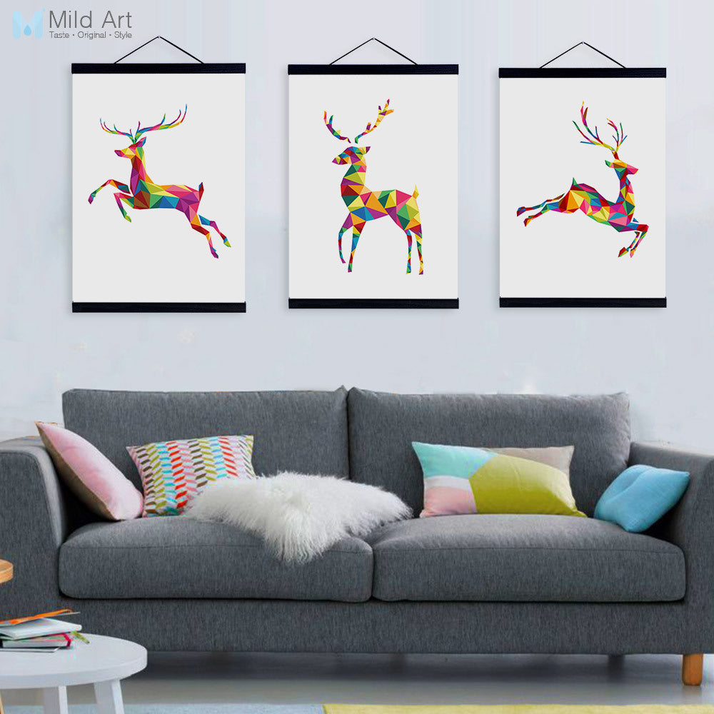 eda47210a7443 Abstract Geometric Animals Deer Wooden Framed Canvas Paintings Girl Room  Nordic Home Decor Wall Art Print Pictures Poster Scroll