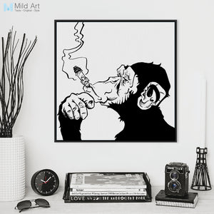 Black White Animals Smoking Gorilla Modern Abstract Canvas Art Print Poster Wall Picture Living Room Bar Decor Painting No Frame