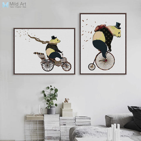 Cartoon Kawaii Panda Bicycle Art Prints Poster Hippie Animal Wall Picture Canvas Modern Nordic Kids Room Decor Painting No Frame