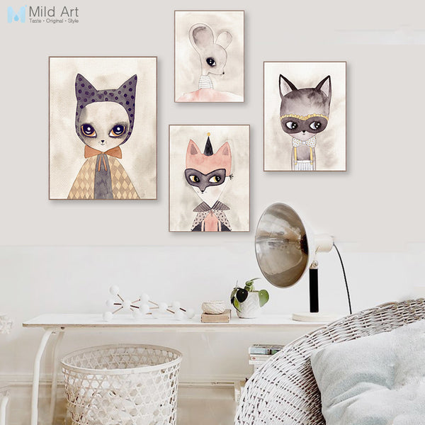 Multi Modern Watercolor Kawaii Cat Fox Canvas A4 Art Print Poster Cute Animal Nursery Kids Room Picture Home Decor Big Paintings
