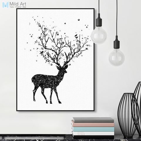 Modern Black White Deer Head A4 Art Print Poster Abstract Tree Bird Animal Wall Canvas Picture Home Decor Painting No Frame Gift