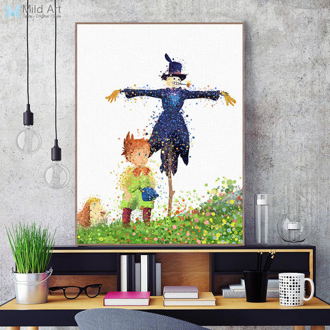 Modern Watercolor Canvas A4 Art Print Poster Miyazaki Howl's Moving Castle Wall Pictures Kids room Home Decor Paintings No Frame