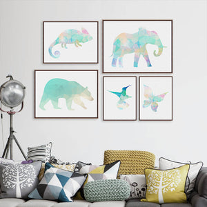 Minimalist Watercolor  Animal Chameleon Polar Bear Art Prints Poster Polygo Wall Pictures Living Room Canvas Painting Home Decor