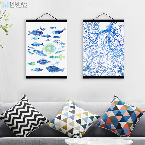 Watercolor Fish Ocean Coral Wooden Framed Canvas Paintings Modern Nordic Home Decor Large Wall Art Print Pictures Poster Scroll