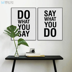 Minimalist Nordic Black White Motivational Quote Canvas A4 Big Art Print Poster Wall Picture Living Room Decor Painting No Frame