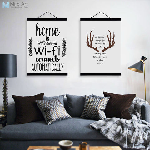 Abstract Deer Head WIFI Quotes Wooden Framed Canvas Paintings Modern Nordic Home Decor Big Wall Art Print Pictures Poster Scroll