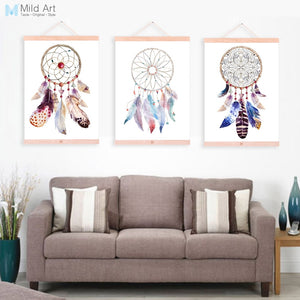 Indian Vintage Dreamcatcher Feather Wooden Framed Canvas Paintings Nordic Living Room Home Decor Wall Art Pictures Poster Scroll