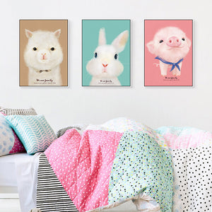 Cute Cartoon Animals Canvas Painting Girls Nursery Posters Print Nordic Wall Art Pictures for Kids Room Home Decoration Unframed