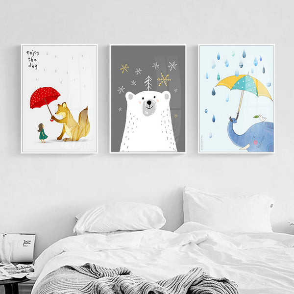 Cartoon Animals Canvas Paintings Nursery Kawaii Posters and Prints Nordic Wall Art Pictures for Kids Bedroom Home Decor No Frame
