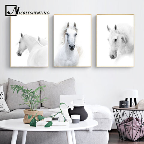 Animal White Horse Wall Art Canvas Posters and Prints Painting Wall Pictures for Living Room Modern Home Decor