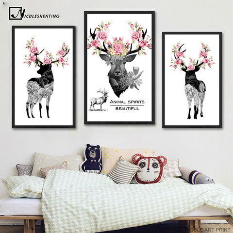 3 pcs Nordic Art Deer Flower Antlers Poster Vintage Minimalist Canvas Painting A4 Wall Picture Print Modern Home Room Decor C216