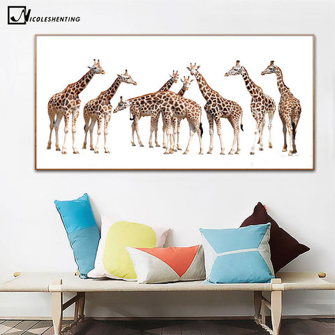 Giraffe Family Canvas Poster Minimalist Art Canvas Painting Animal Wall Picture Print Modern Children Living Room Decoration 242