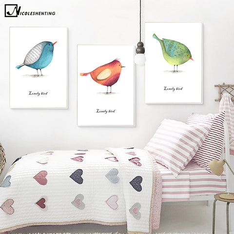 Nordic Art Loney Bird Watercolor Animal Minimalist Canvas Poster Painting Wall Picture Print Modern Home Bedroom Decoration