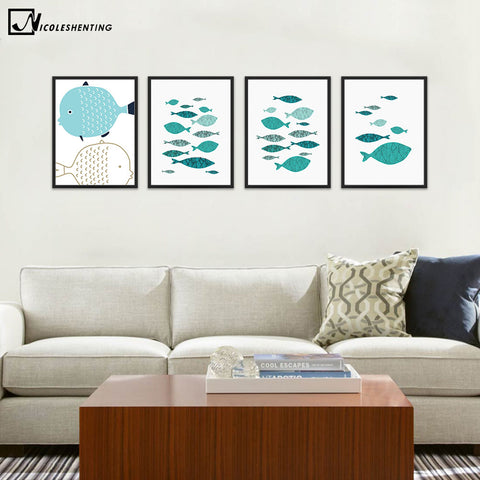 NICOLESHENTING Marine Animal Fish Minimalist Art Canvas Poster Painting Wall Picture Print Modern Home Kids Room Decoration