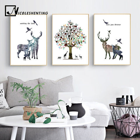 Deer Forest Silhouette Wall Art Canvas Nordic Posters and Prints Abstract Painting Wall Pictures for Living Room Home Decor