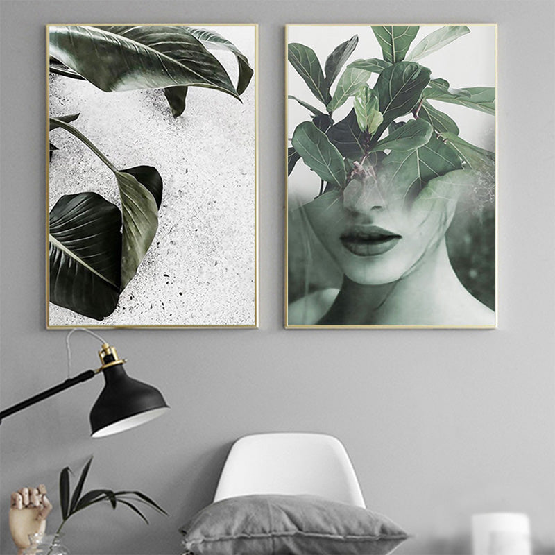 ... Nordic Decoration Art Poster Paintings Leaf Girl Wall Art Canvas Painting Canvas Art Print Posters And ... & Nordic Decoration Art Poster Paintings Leaf Girl Wall Art Canvas ...