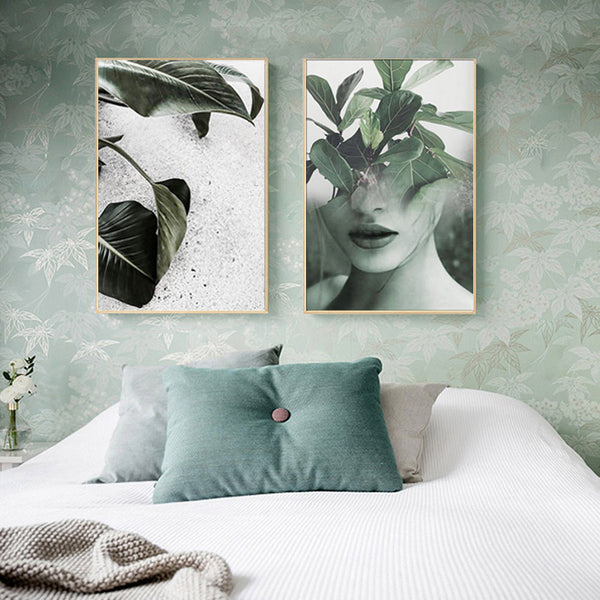 Nordic Decoration Art Poster Paintings Leaf Girl Wall Art Canvas Painting Canvas Art Print Posters And Prints Unframed Picture