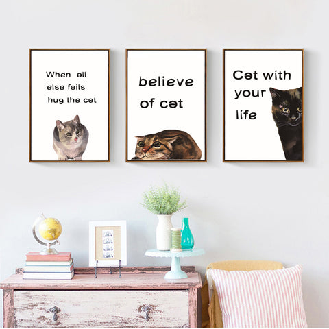 Fashion Cute Cat Canvas Painting Classic Quotes Animals Posters and Prints Wall Art Pictures for Living Room Home Decor Unframed