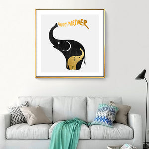 Abstract Happy Elephant Canvas Paintings Cartoon Animals Poster Print Nordic Wall Art Pictures Nursery Kids Home Decor No Frame