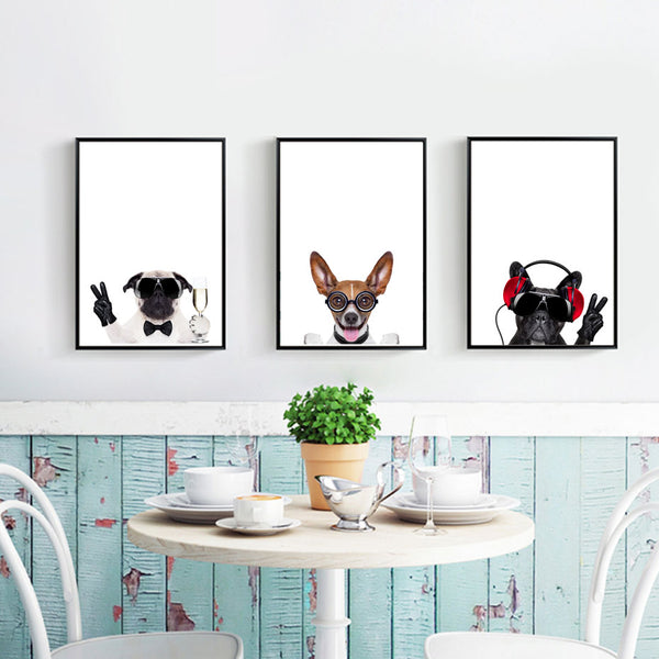 Modern Fashion Humour Dogs Canvas Painting Animals Posters and Prints Pop Wall Art Pictures for Living Room Home Decor Unframed