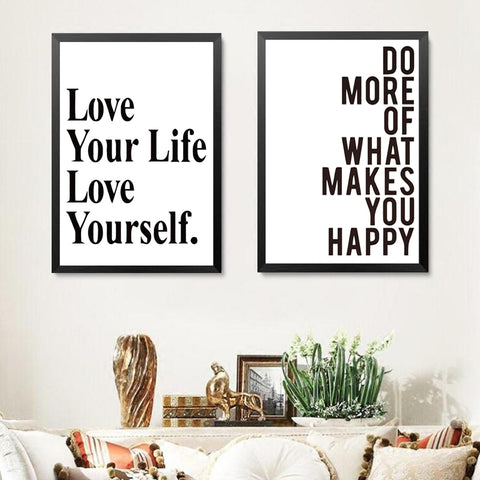 Love Life Love Yourself Modern Quotes Canvas Prints Poster For Room Office Wall Decor Spray Printings Poster Art Painting YT0073
