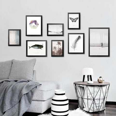 Modern Art Print Poster Nordic Minimalist Wall Picture Fish Feather Butterfly Canvas Painting Kids Room Home Decor FG0090