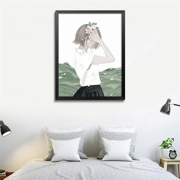 Green Plant Cactus Canvas Art Print Painting Poster, Girl Wall Picture for Home Decoration, Wall Decor YT0027