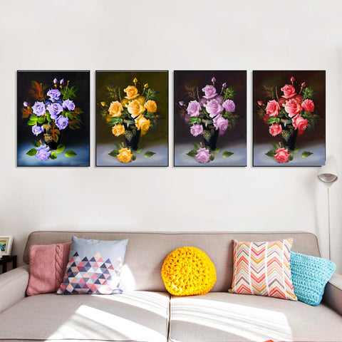Chinese Rose Modern Flowers Poster Prints Wall Pictures Canvas Painting No Framed Room Decor HD2081