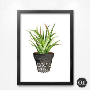 green small plants modern painting art wall picture abstract potted plants posters and prints YT0005-1