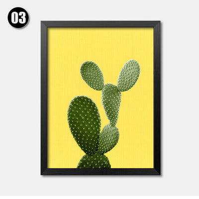 Green Plant Cactus Canvas Art Print Poster Still Life Wall Picture ...