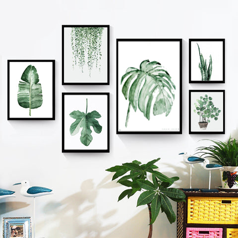 fresh green plants canvas painting fashion watercolor plants living room decor wall art print poster painting YT0069