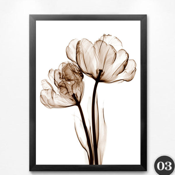 Transparent Flowers Wall Art Canvas Painting Posters and Prints Art Picture Abstract Wall Pictures No Poster Frame HD2133