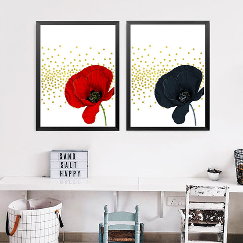 Flowers Print, Black Red Flowers Print, Printable Art Canvas Painting, Home Decor, Wall Decor, Wall Art Print Poster HD2108