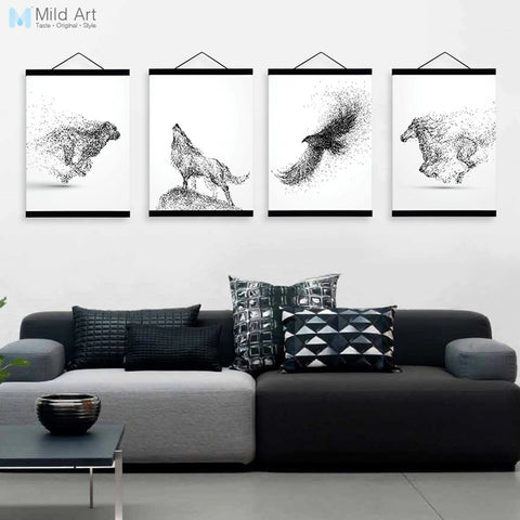 Abstract Black White Ink Animal Wolf A4 Wooden Framed Poster Minimalist Wall Art Canvas Painting Picture Print Home Decor Scroll