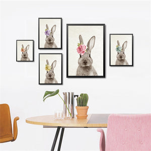Kawaii Animals With Flowers Rabbit Art Prints Poster Nursery Wall Picture Canvas Painting Kids Room Decor No Frame HD2238