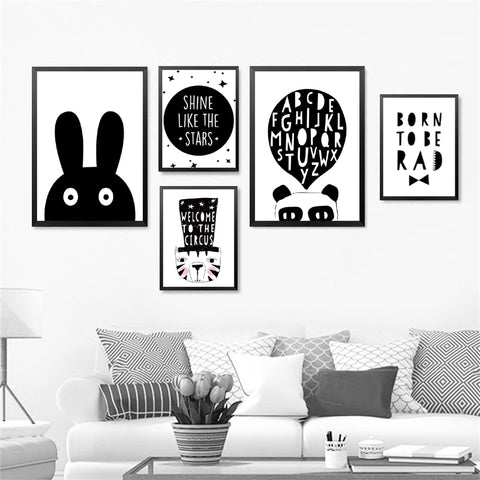 Modern Wall Art Print Poster Fashion Modular Picture Canvas Art Cartoon Animal Rabbit Wall Poster Print For Living Room HD2228