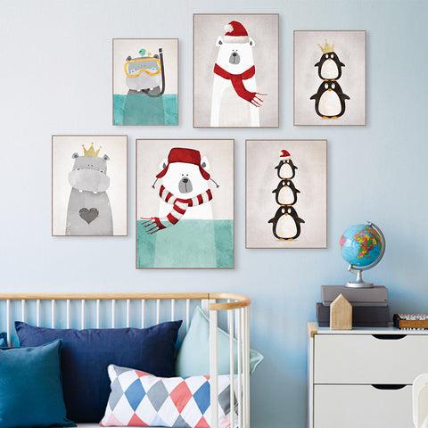 Modern Nordic Animals Bear Hippo Penguins Poster Print Nursery Wall Art Picture Canvas Painting Kids Room Decor HD1846