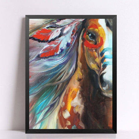 Modern Indians Horse Picture on Canvas Wall Art Painting Hang Oil Painting Abstract Wall Picture Canvas Painting No Frame HD2052