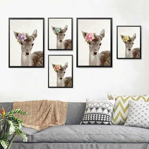 Kawaii Animals With Flowers Deer Art Prints Poster Nursery Wall Picture Canvas Painting Kids Room Decor No Frame HD2239
