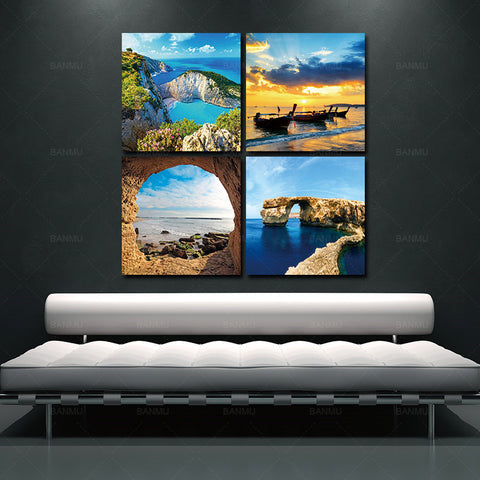 BANMU 4 Panel Modern Prints Beach Seascape Painting Sea Boat Sunset Painting Cuadros Wall Picture For Living Room No Frame