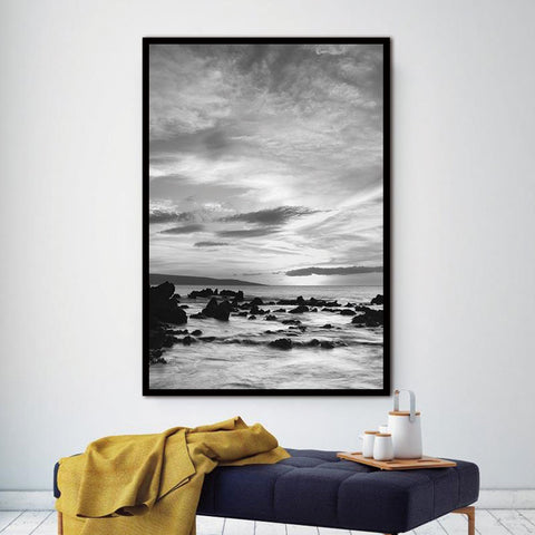 Wall Pictures Landscape Scandinavian Nordic Abstract Sea Stone Living Room Art Decoration Canvas Painting Prints No Frame