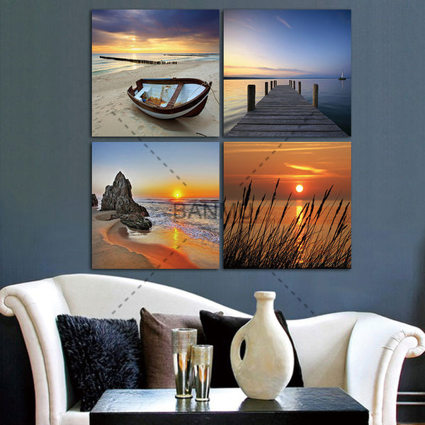 4 Panel Modern Prints Beach Seascape Painting Sea Boat Sunset Painting Cuadros Wall Picture For Living Room(No Frame)