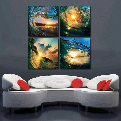 canvas painting print Wall Art decor Sea Full Sunrise Home Decoration Large Canvas Paintings 5pcs  Cuadros Lienzos Decorativos