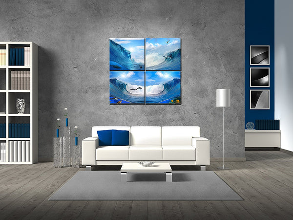 BANMU 4 Panel Seascape Prints Oil Painting Modern Pictures Sea Wave Cuadros Decoracion For Living Room Unframed