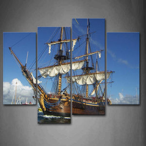 Tall Ships With Wooden Material On Water Wall Art Painting The Picture Print On Canvas Car Pictures For Home Decor Gift