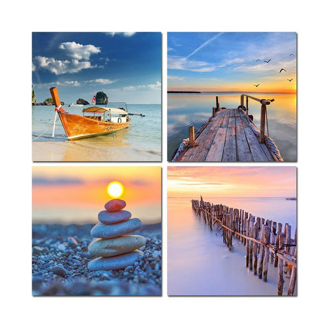 4 Panels boat Canvas Painting beach Painting On Canvas cuadros decoracion beauty Wall Painting Art Wall Picture For Living Room